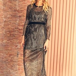 NWT-Sheer metallic maxi dress– SF studio